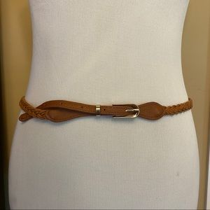 Skinny Brown Braided Belt